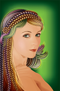 Vector graphics illustration of woman with hair of various colours